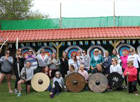 Wall Eden Farm Adventure Holidays Self Catering Visit Weston-super-Mare  group photograph archery shields