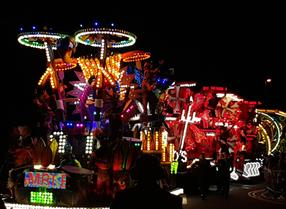 Weston-super-Mare carnival Bridgwater float illuminated November