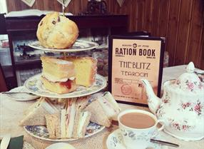 Blitz tearoom Weston-super-Mare 1940s cafe interior decor cream tea menu