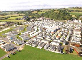 Riverside Holiday Village aerial shot Visit Weston-super-Mare caravans rural park countryside