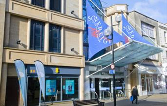 sovereign centre weston-super-mare High Street entrance banners flags